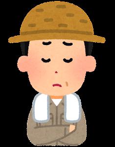 農家の男性のイラスト(悩んだ顔)