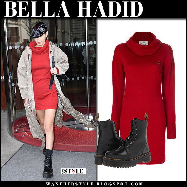 Bella Hadid in beige coat and red sweater dress vivienne westwood street fashion february 28