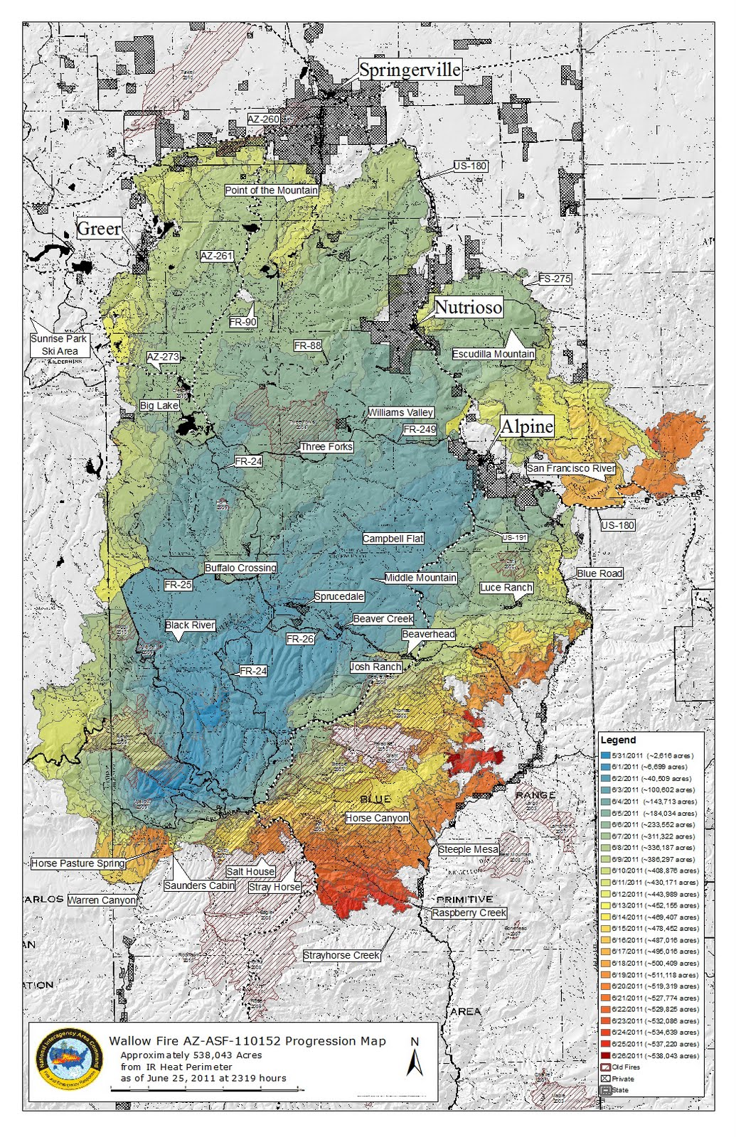 Arizona Hiking WALLOW FIRE MAPS