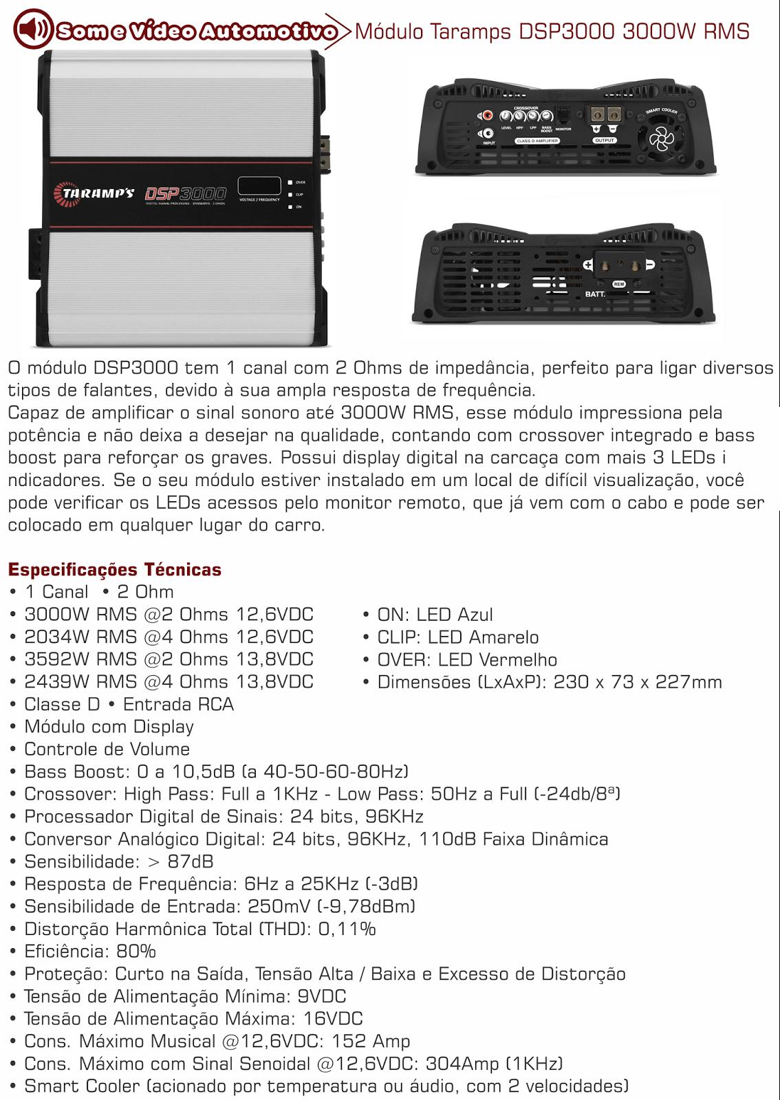 modulo taramps dsp 3000w rms digital barra potencia 2 ohms. Black Bedroom Furniture Sets. Home Design Ideas