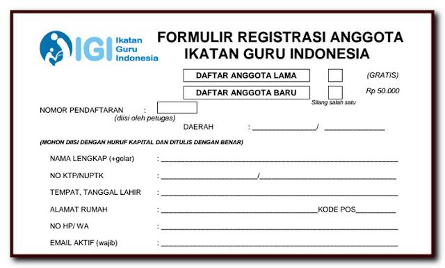 Formulir Pendaftaran Anggota Baru IGI