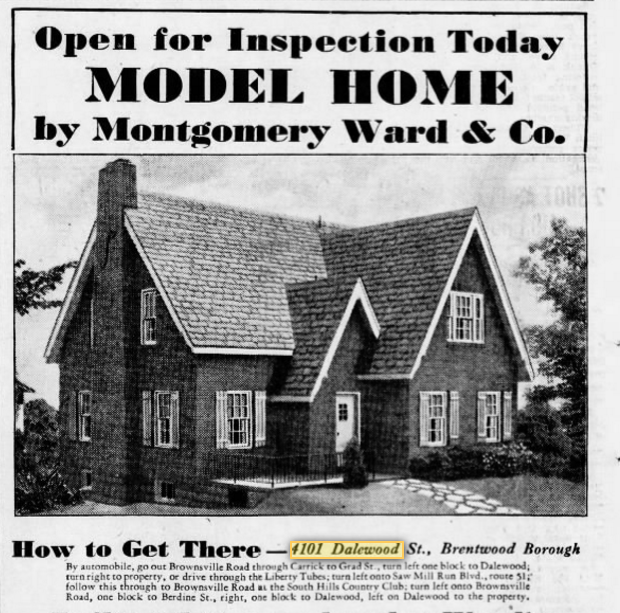 wardway winthrop model home ad pittsburgh pa 1931
