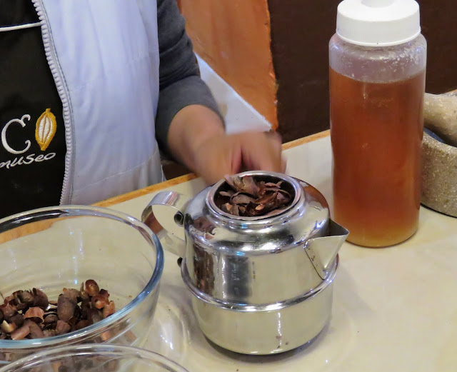 Tea made from the husks of cocoa beans in Ollantaytambo Peru