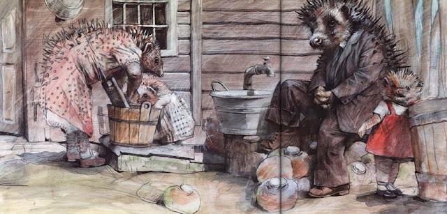 Братья Гримм. Заяц и ёж Иллюстратор Jonas Laustroer, 2015