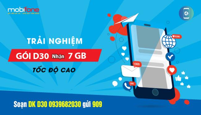 Gói lên mạng theo ngày của Mobifone: D30 MobiFone 1 tuần ưu đãi 7GB chỉ 30k