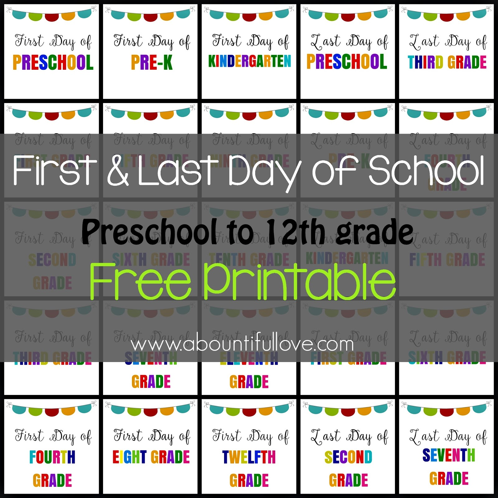 first and last day of school sign printable