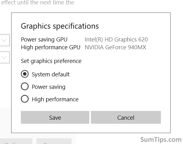 Graphics Specifications Dialog