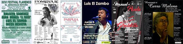 LUIS EL ZAMBO, CARTELES FLAMENCOS. ARRANQUE ROTEÑO,  LA PARPUJA DE CHICLANA, HOMENAJE AL TORTA, GIRALDILLA FLAMENCA, HOMENAJE A CURRO MALENA
