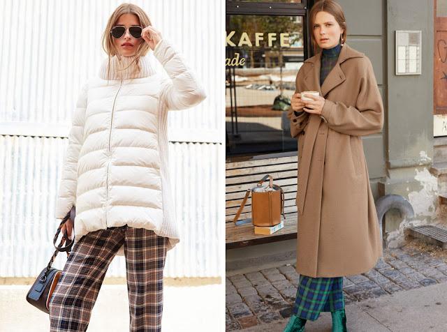 Девушки в белом пуховике и пальто цвета кэмел в брюках в клетку
