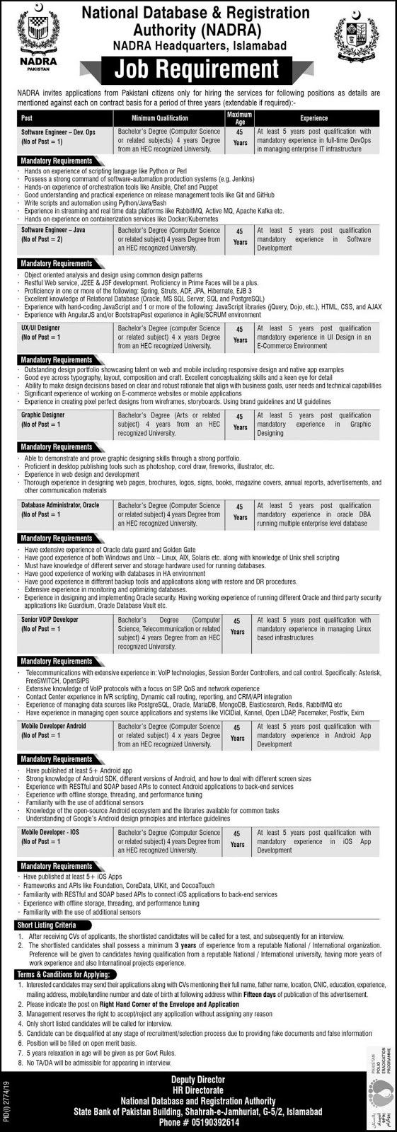National Database And Registration Authority NADRA Jobs