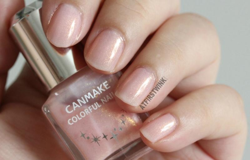 Canmake Colorful nails nail polish no. 43 pink with gold shimmers