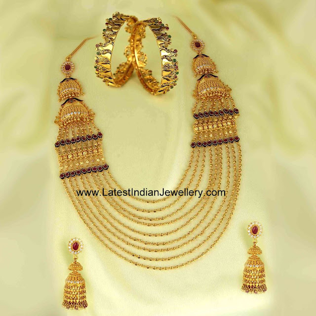 Chandra Haar Jhumkas Set