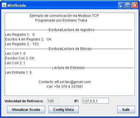Ejemplo de comunicación Modbus TCP hecho en Java utilizando