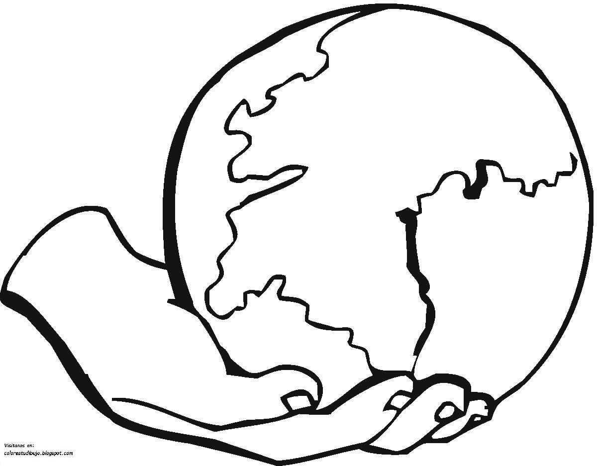 Colorea tus dibujos planeta tierra en una mano para - Dibujos para pintar en la pared ...