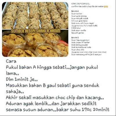 Cara - Cara Membuat Biskut Chocolate Chip, Bahan - Bahan untuk membuat Biskut Chip Coklat,