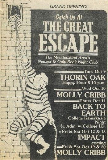 The Great Escape rock club New Jersey grand opening ad