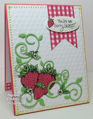 "ODBD ""Strawberries"", ""Strawberries & Pickles"", ""Gingham Background"", ""Fancy Foliage Dies"" Card Designer Angie Crockett"