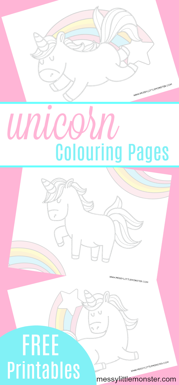 Free printable Unicorn Colouring Pages - 3 unicorn pictures to print and colour at home. These unicorn sheets can be put together to make a mini unicorn colouring book.
