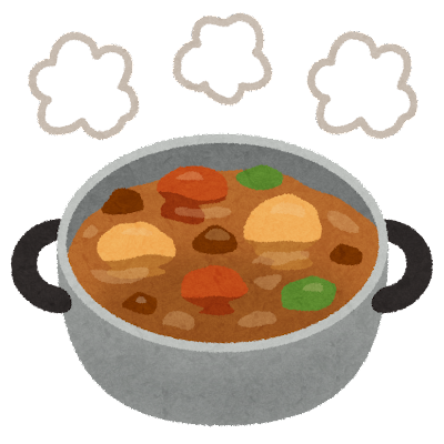 料理の「煮る・煮込む」のイラスト