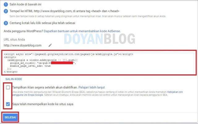 sisipkan script google adsense pada blog
