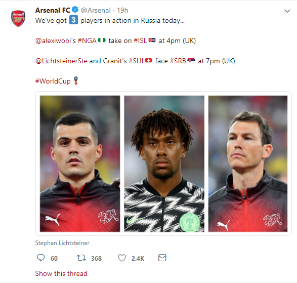 Arsenal tweet good luck to the Granit Xhaka, Alex Iwobi and Stephan Lichtsteiner