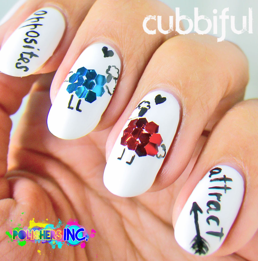 sheep love nail art with glitter