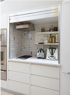 small hidden kitchen design ideas - behind a blind