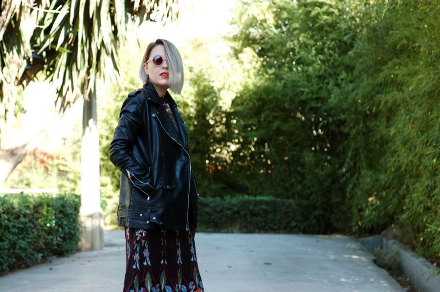 vestido bordado Zara con biker y botines rojos, littledreamsbyr