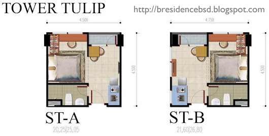B Residence Apartemen BSD Floor Plan and Unit Type