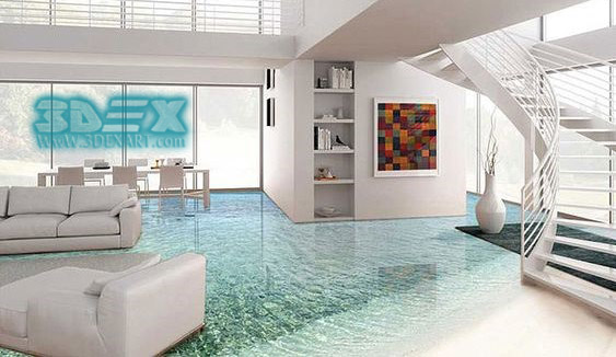simple 3D epoxy flooring for villas
