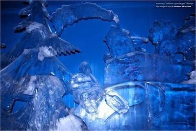 Escultura de hielo en Moscu.