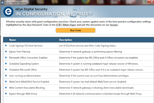 Free Configuration Check Tool by eEye Digital Security