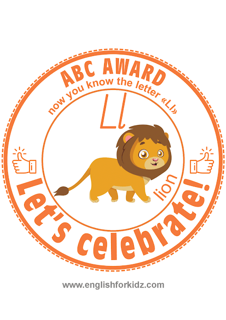 Printable award for ABC learning -- letter l is for lion