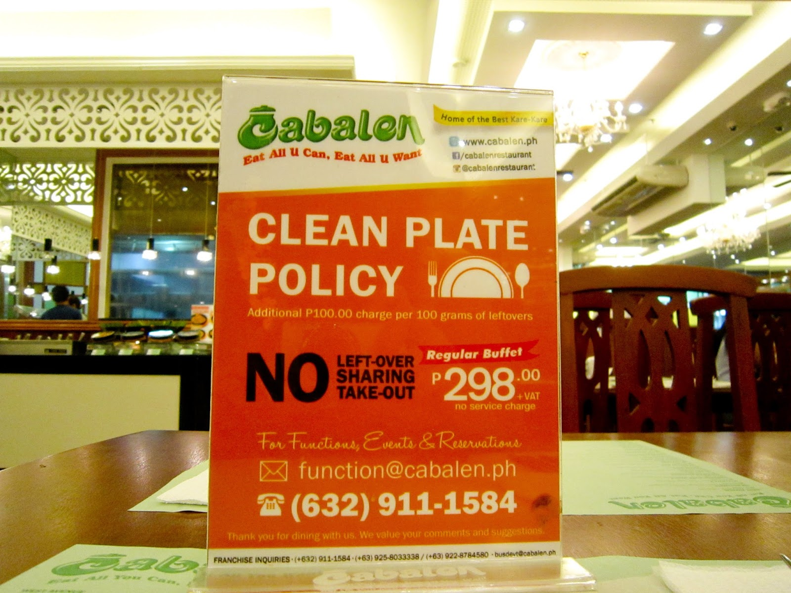 When We Were Seated This Table Display Caught My Attention Cabalen Is Strict With Their Leftovers They Have Clean Plate Policy