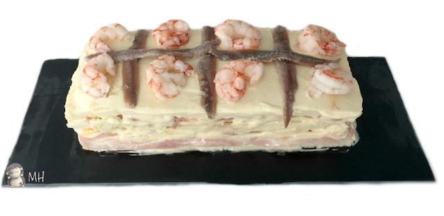 Pastel frío de atún y langostinos