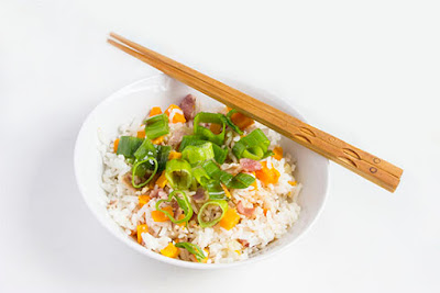 Chinese food - Rice cooked with sweet potato and bacon