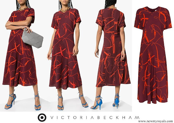 Countess of Wessex wore VICTORIA BECKHAM belt and buckle print midi dress