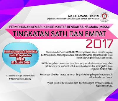 Permohonan Masuk Ke Tingkatan 1 dan Tingkatan 4 MRSM Bagi Tahu 2017