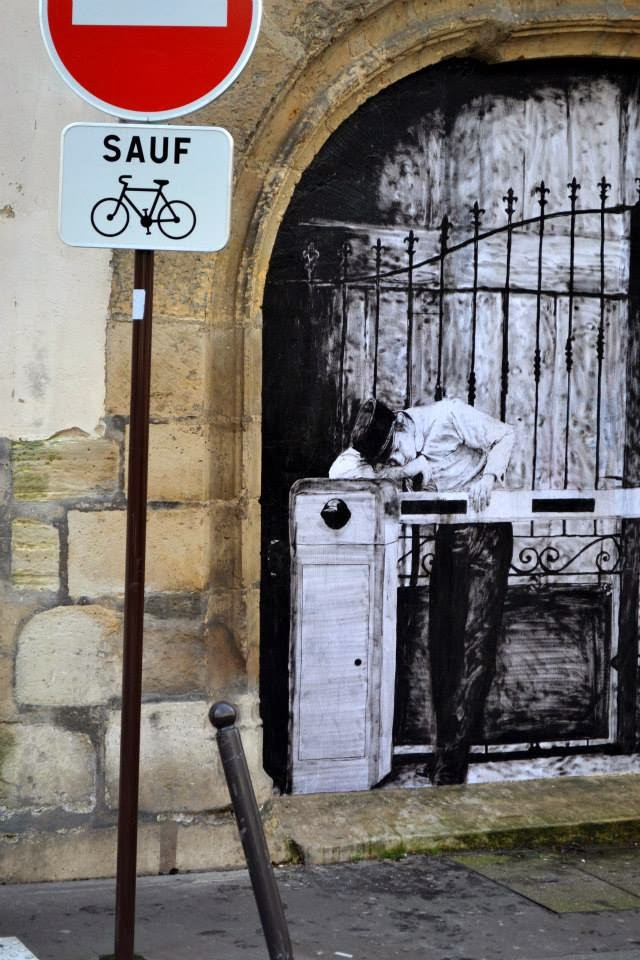 """""""Border"""" New Paster On The Streets of Paris in France by French artist Levalet. 3"""
