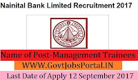 Nainital Bank Limited Recruitment 2017– Management Trainees