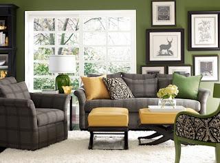 Sala en verde y gris