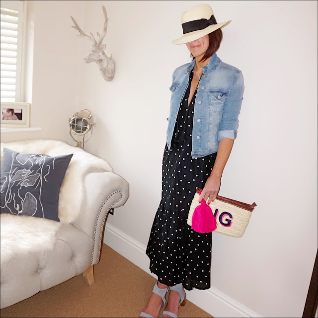 My Midlife fashion, zara denim jacket, j crew polka dot maxi dress, marks and spencer studded block heel sandals, initially london ibiza clutch