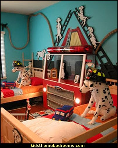 fire truck bedroom decor - Firefighter bedding - fireman bedding - fire truck bedroom decorating ideas - flames bedding - Fire Engine Beds - Fire truck bedrooms - dalmatian theme bedrooms