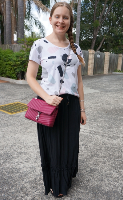 thrifted printed tee ruffle maxi skirt summer sahm style outfit with rebecca minkoff edie cross body | awayfromblue