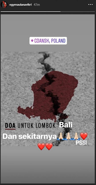 Egy Maualana Vikri posting insta story duka Lombok