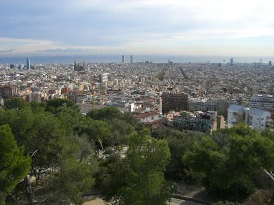 Barcelona from The Turó de les Tres Creus in Park Güell