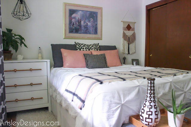 Blush, Copper, and grey Bedroom