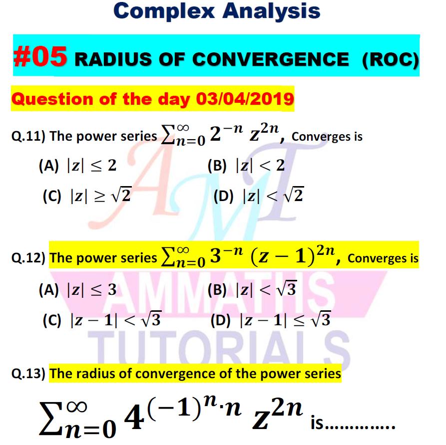 AMMATHS TUTORIALS : #05 Question of the day 03/04/2019 Q 11