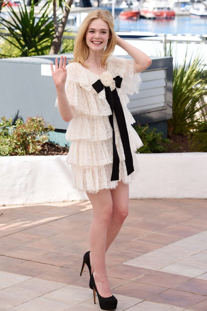 Elle Fanning wears a Chanel lace mini dress at the Cannes Film Festival 2016