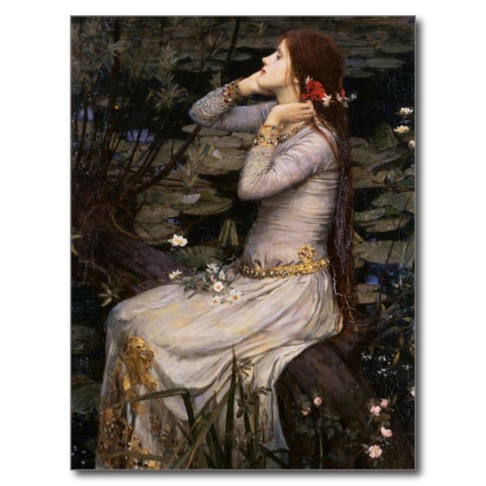 Ophelia by the Pond - Beautiful Oil on Canvas